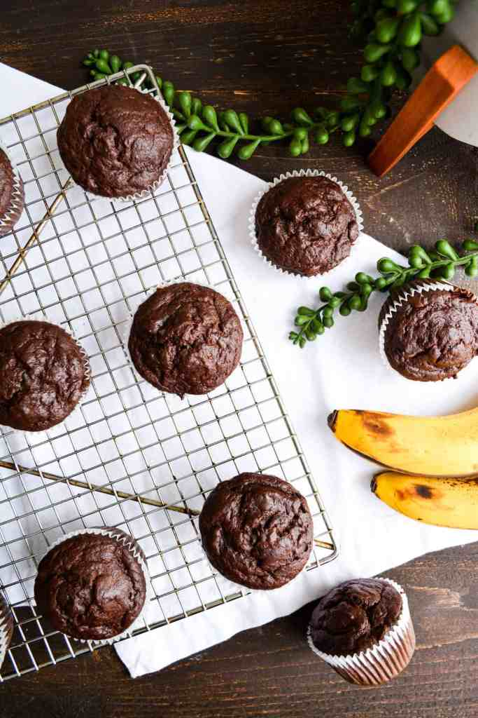 Double Chocolate Banana Muffins on a cooling rack