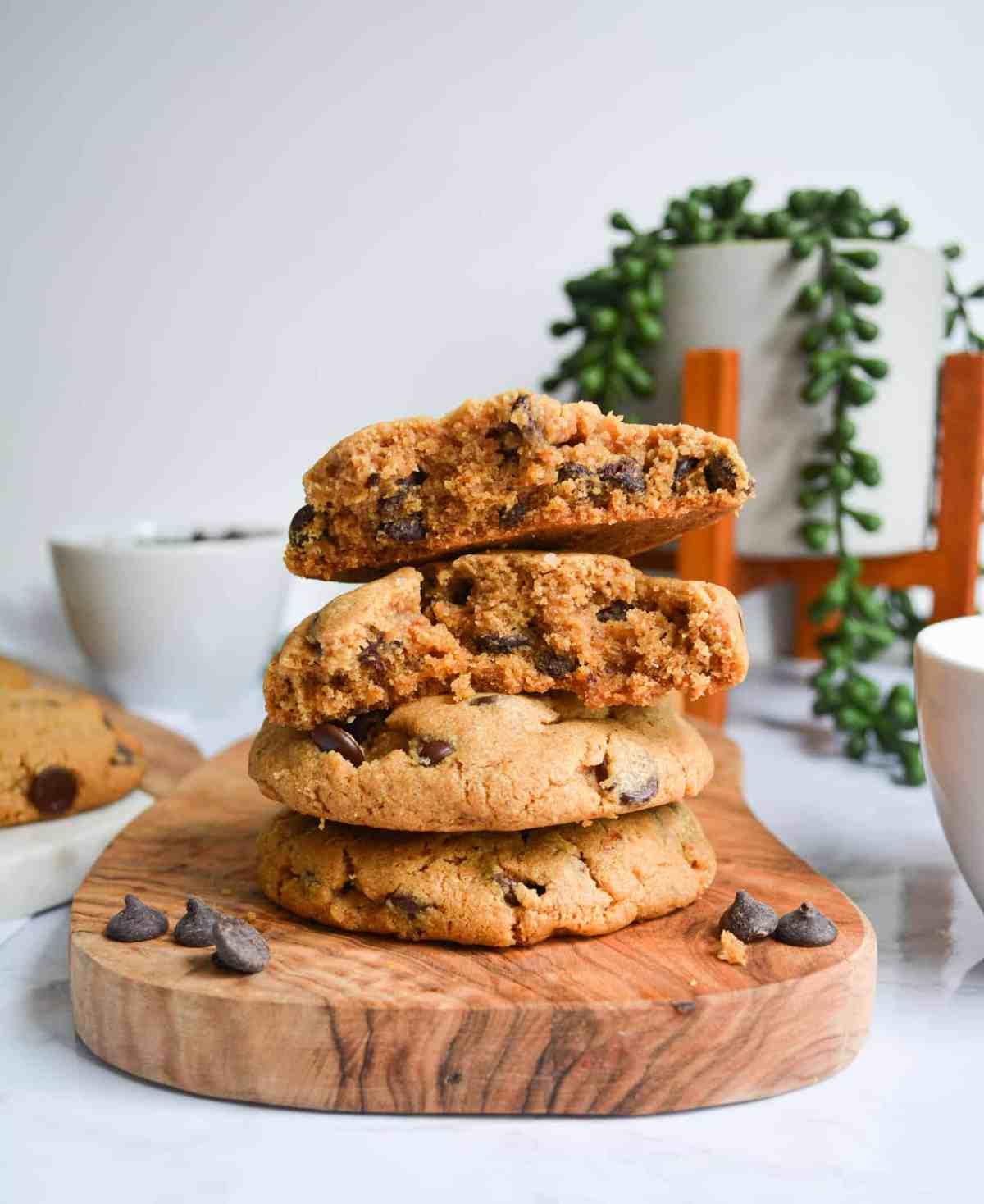 Stack of vegan peanut butter chocolate chip cookies by earthly bakers co