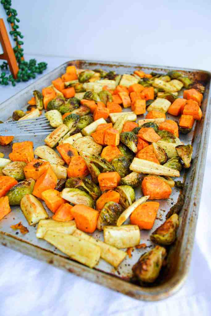 Sheet Pan of roasted vegetables