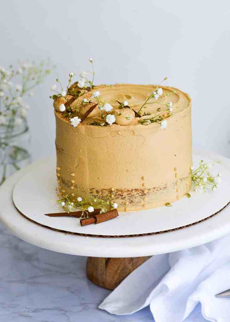 Decorated Pumpkin Spice cake of a cake stand