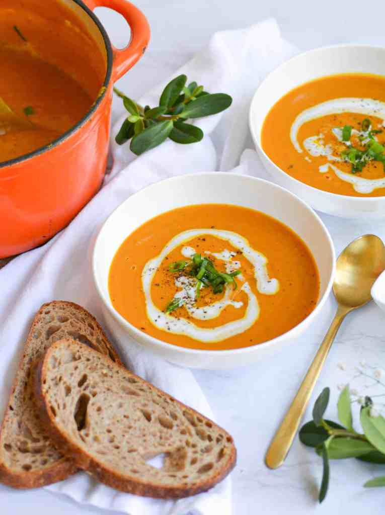two bowls of Winter Squash Soup with toast