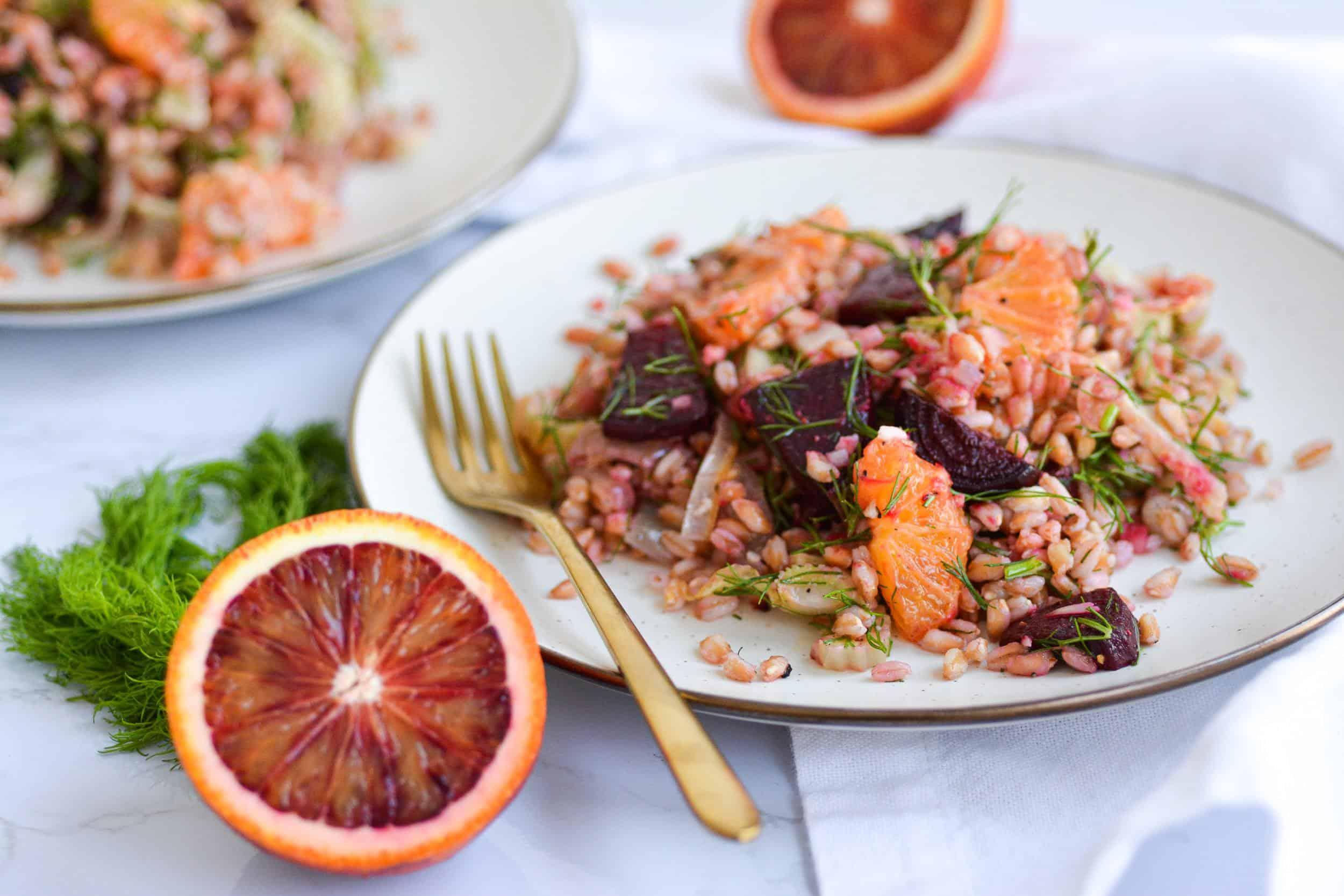 Warm Farro Salad with Roasted Garlic Vinaigrette
