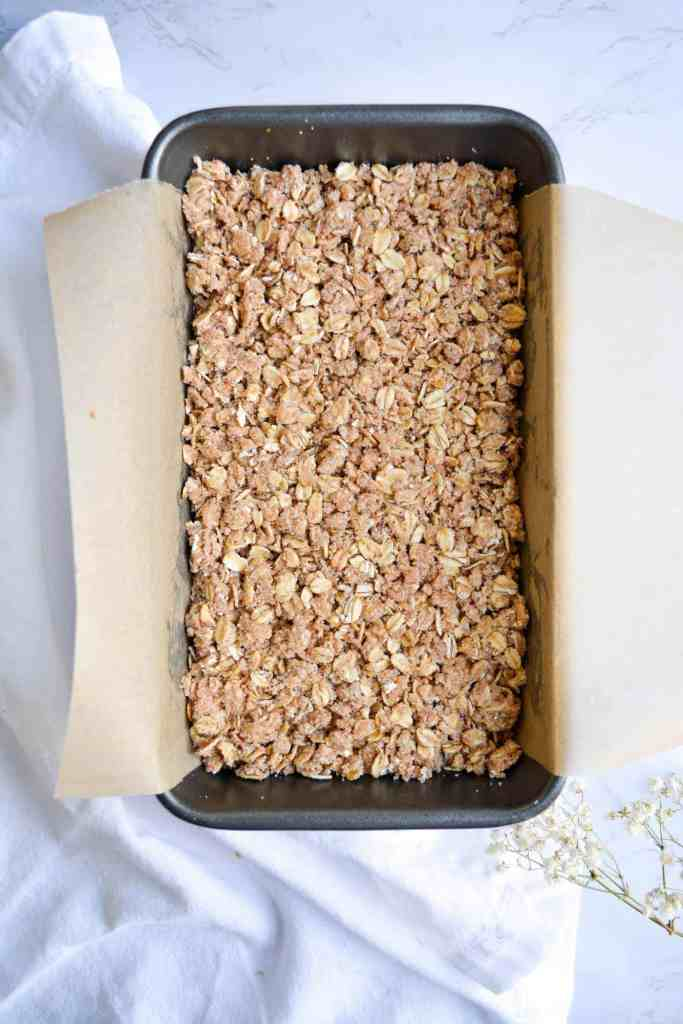 Batter in Loaf pan with streusel
