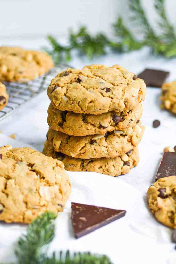 Oatmeal coconut chocolate chip cookies on a white board