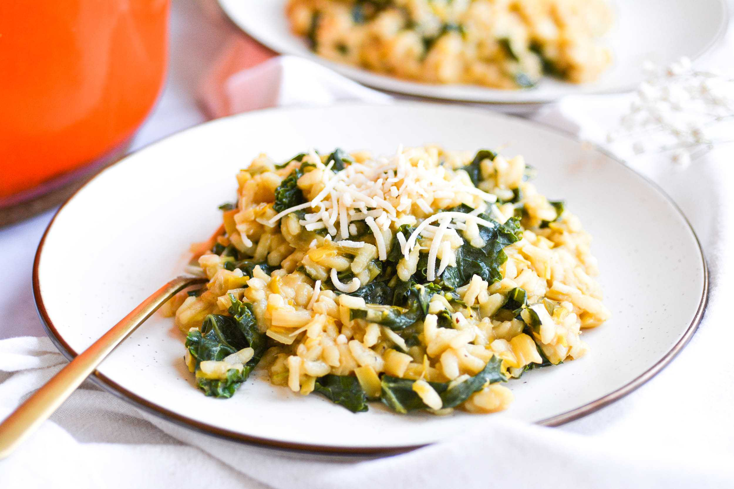 Vegan Leek and Kale Risotto- One-Pot Dinner
