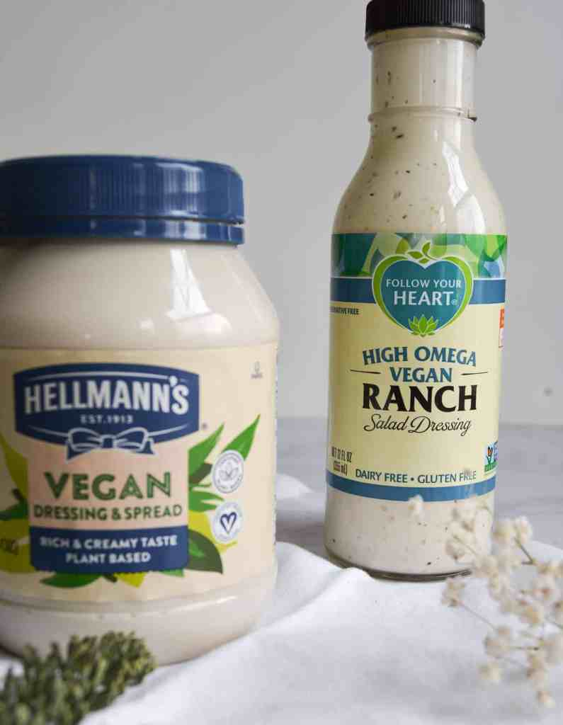 a jar of hellmanns vegan mayo and a bottle of follow your heart vegan ranch