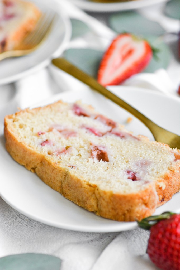 Close up of a slice of Vegan Strawberry Pound Cake
