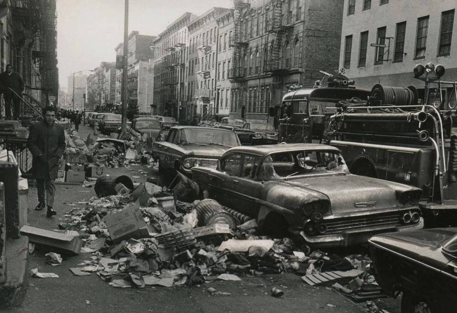 New York City sidewalks                                       filled with trash during the 1968                                       strike