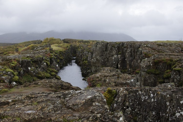 Rift between the Eurasian and North American tectonic plates in Thingvellir