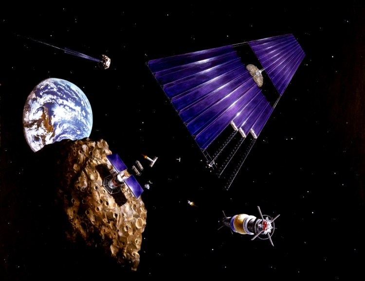 Solar-powered satellite approaching an asteroid