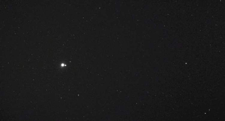 Earth and Moon Seen from the Messenger Probe