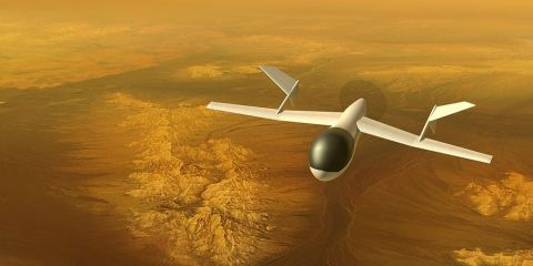 AVIATR aircraft over Titan's bright terrain