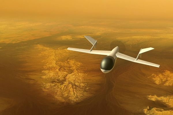 AVIATR aircraft over Titan's bright terrain