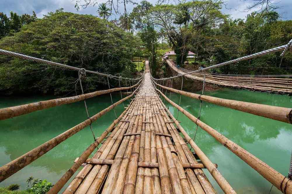 Bamboo Hanging Bridge in Bohol, Philippines