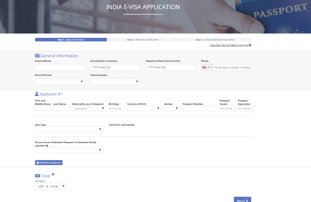 Indian iVisa Application