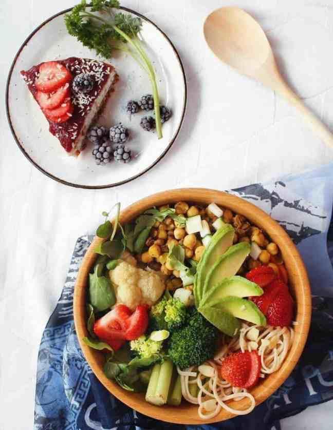 Vegan Cheesecake and Salad