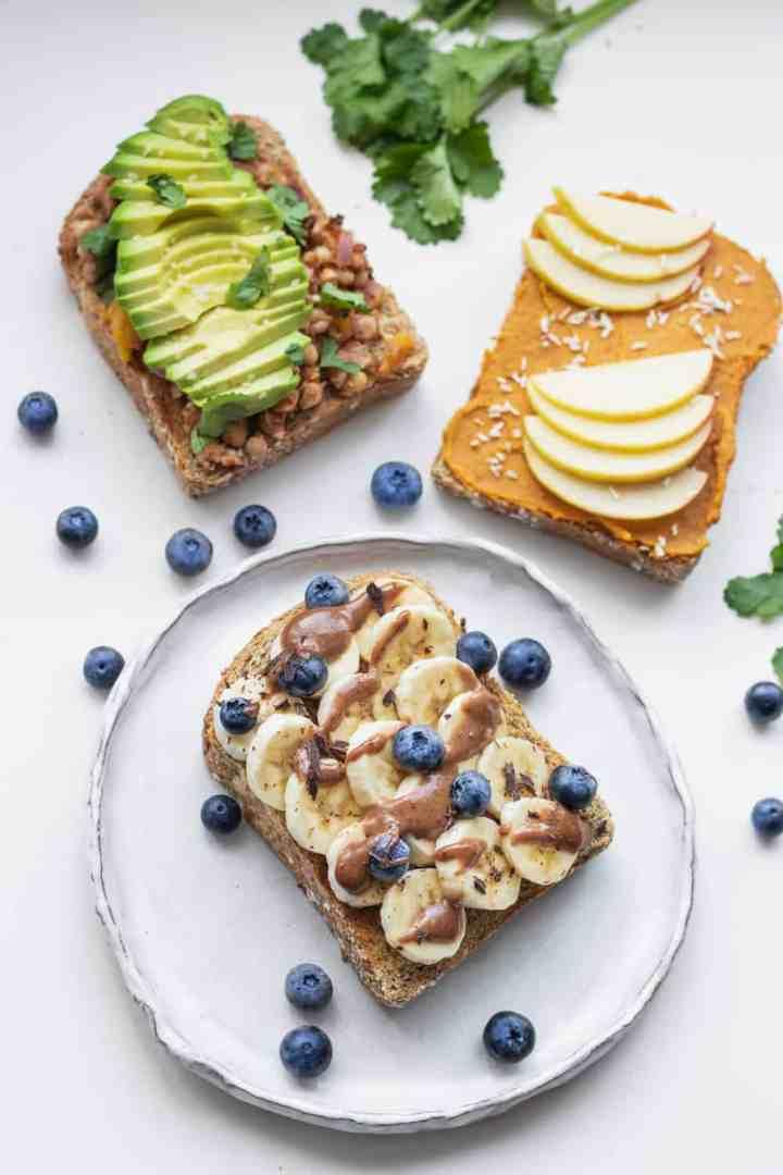 Three healthy and simple vegan toast recipes
