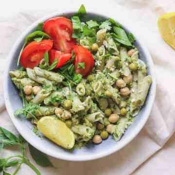 Oil-free and vegan pea and avocado pesto bowl