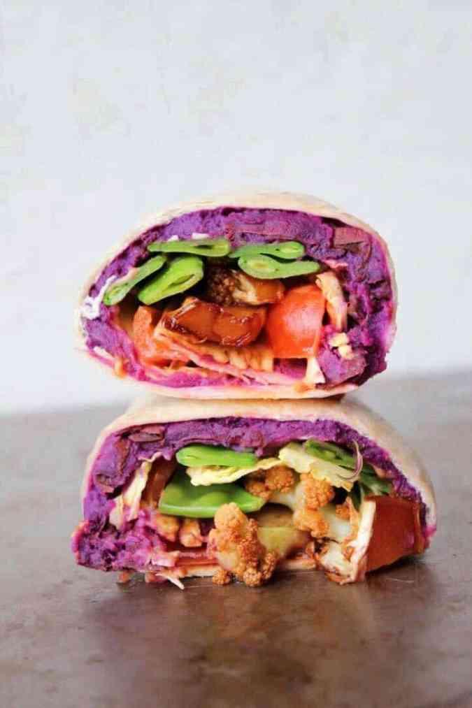 Vegan potato wrap with spicy cauliflower