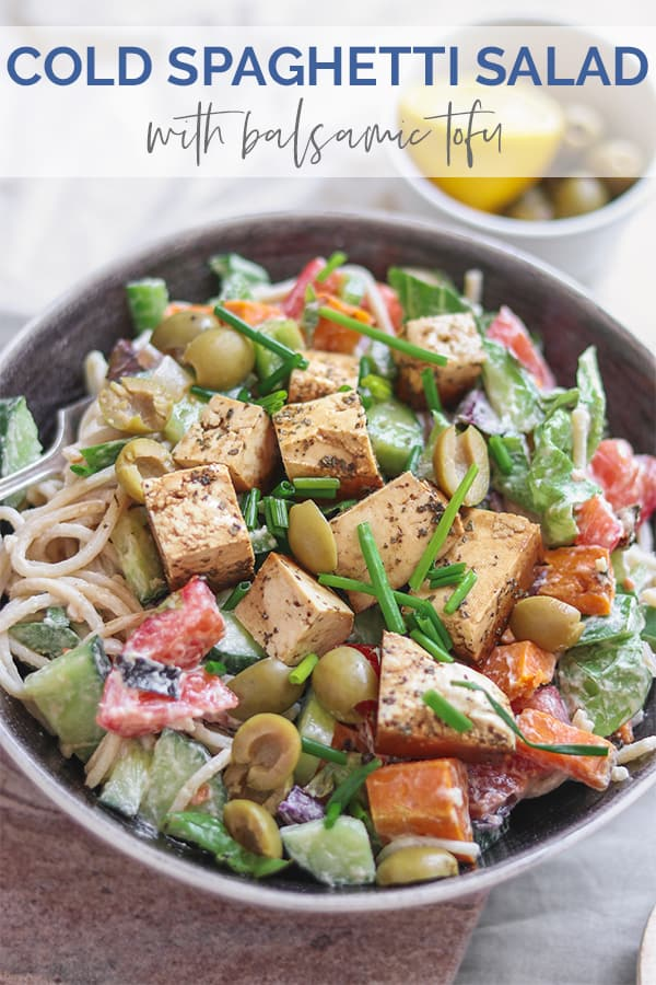 Cold spaghetti salad with tahini dressing and balsamic tofu Pinterest