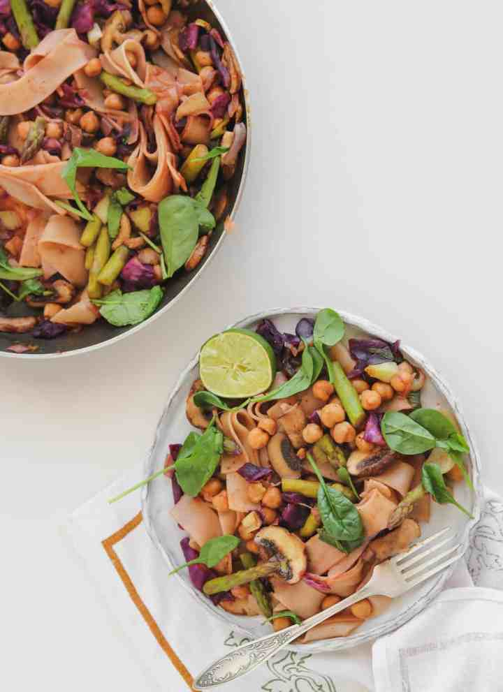 Chickpea Stir-fry With A Lime Vegetable Medley