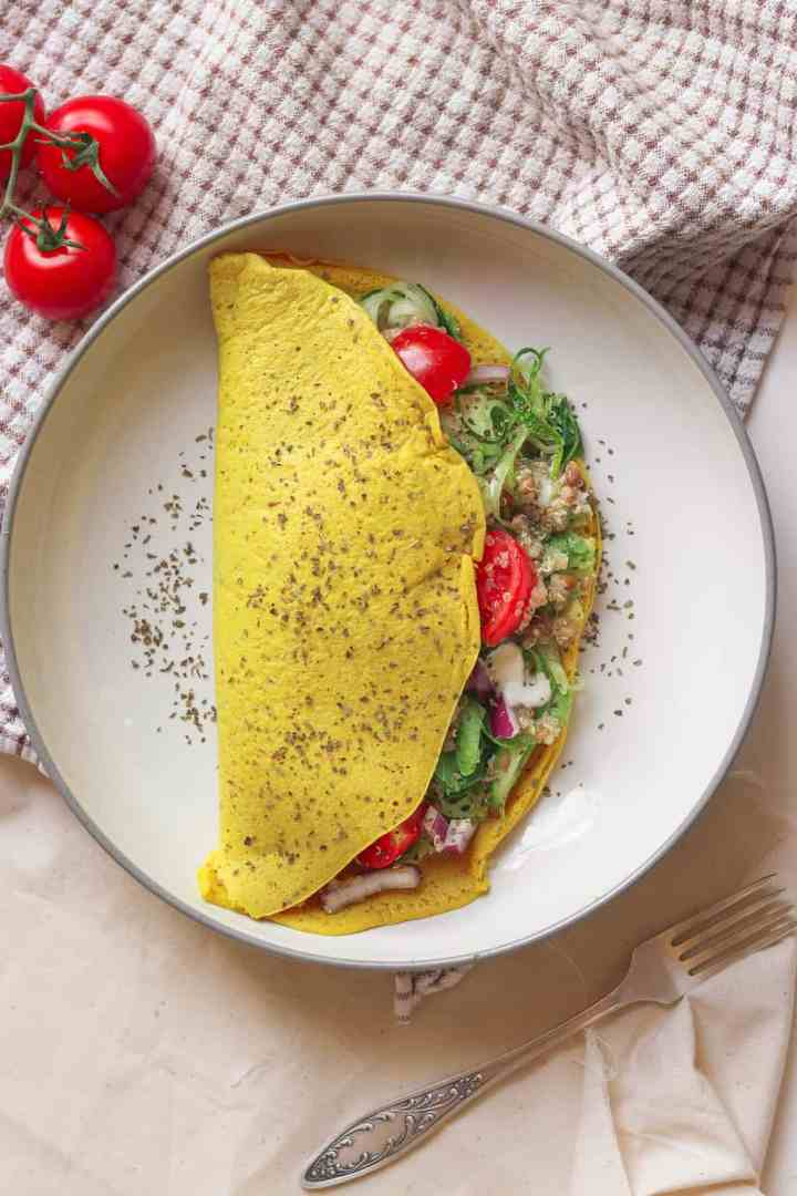 Lentil quinoa salad chickpea omelette filling - fresh, vibrant and summery, this makes a perfect savoury breakfast to energise you for the day ahead
