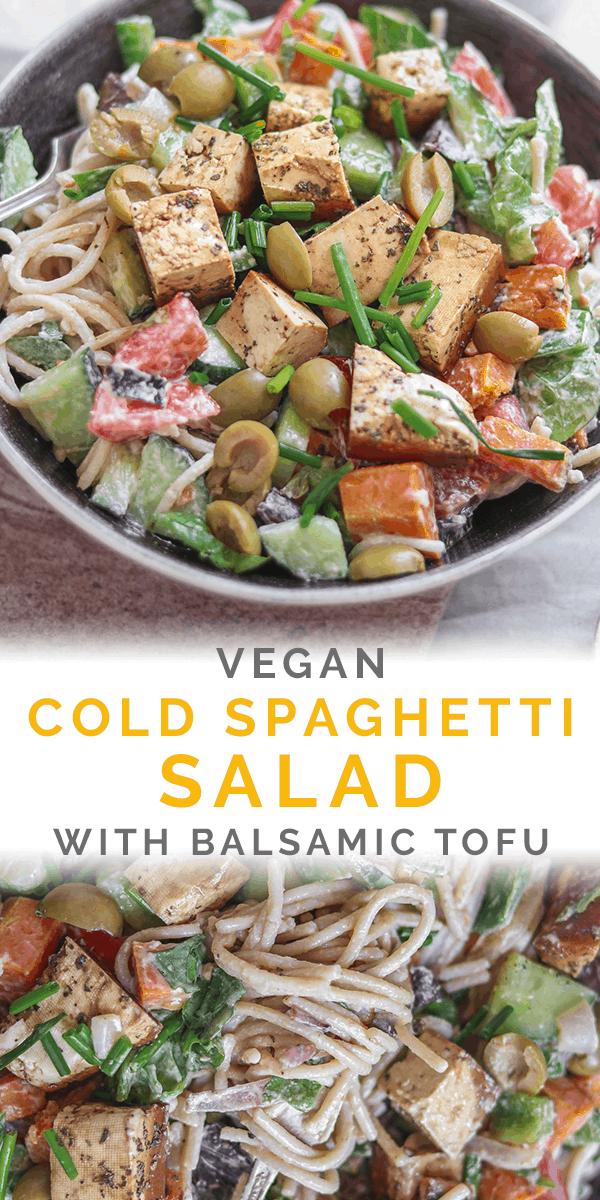 Vegan cold spaghetti salad with balsamic tofu Pinterest image