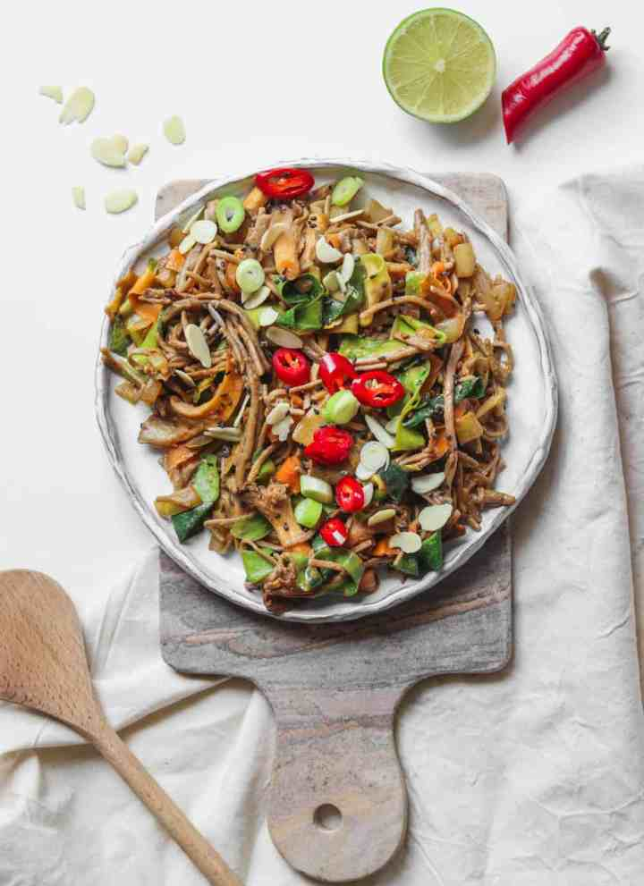 Miso Tahini Soba Noodle Stir-fry With Oyster Mushrooms