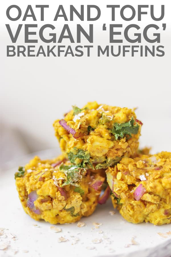 Oat and tofu vegan 'egg' breakfast muffins pin