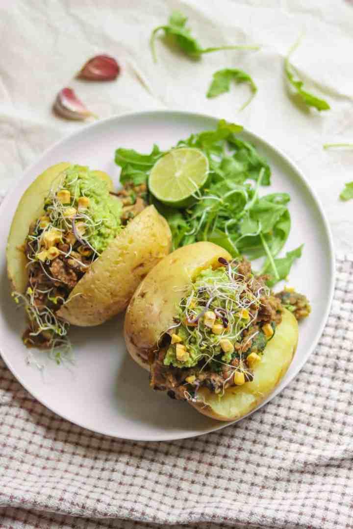 Simple vegan lunch jacket potatoes with one-pot lentils