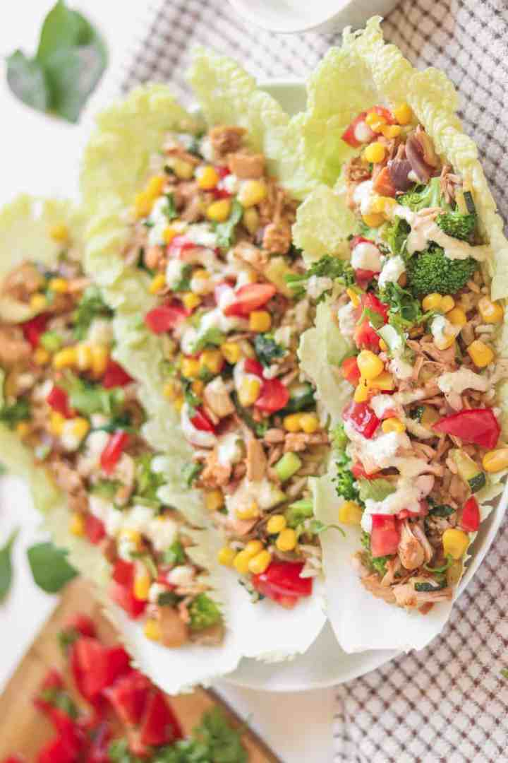 Taco-style jackfruit lettuce wraps with brown rice and a cashew dressing