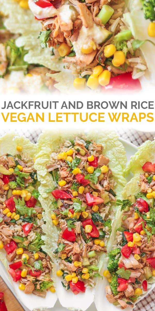 Jackfruit and brown rice vegan lettuce wraps Pinterest