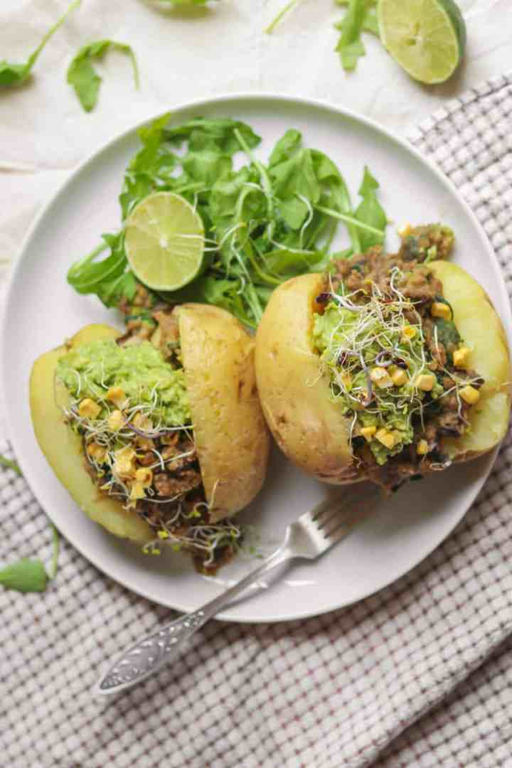 Vegan jacket potatoes with lentils, avocado and sweetcorn