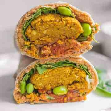 Edamame and kimchi vegan falafel wrap for back to school