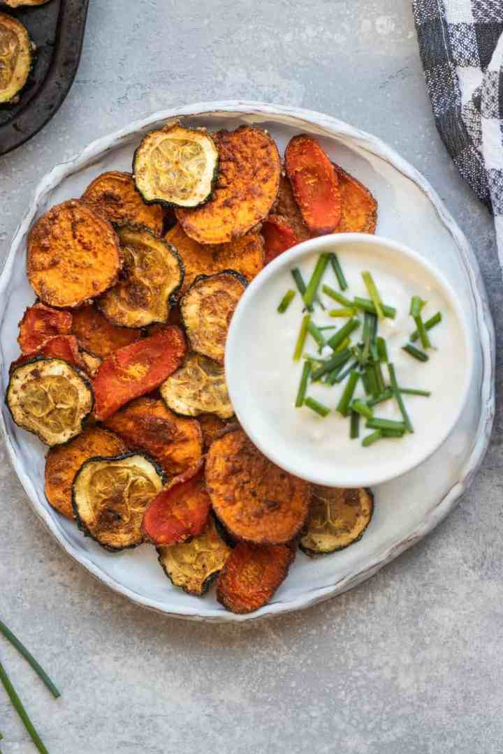 Sweet potato carrot and zucchini chips with vegan yoghurt dip