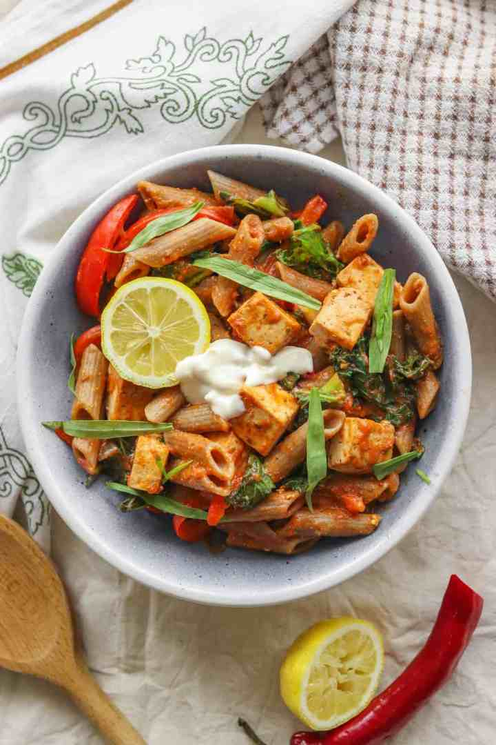 Healthy creamy vegan pasta with tofu