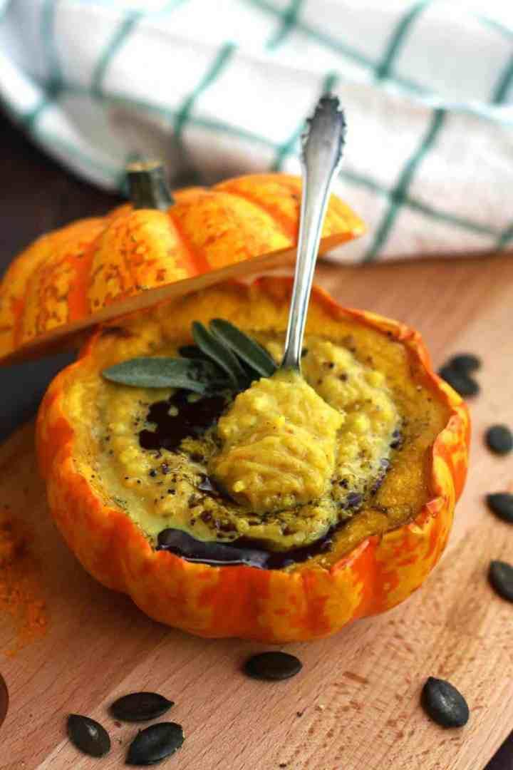 Vegan pumpkin soup with millet in pumpkin bowls Happy Kitchen Rocks