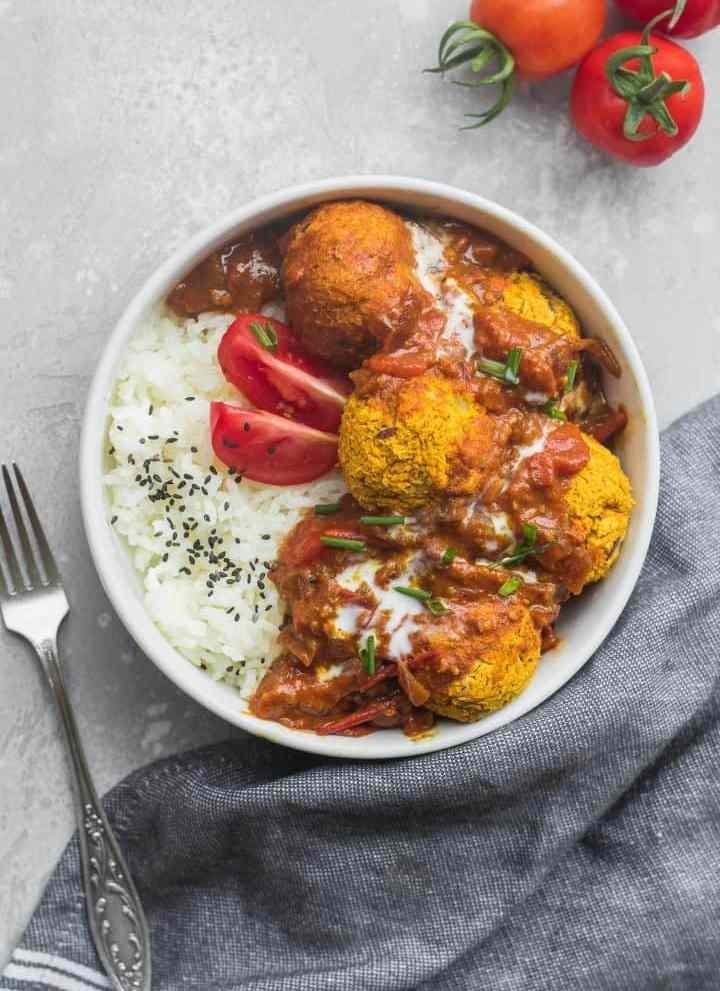 Vegan Lentil Meatballs In Curry Sauce