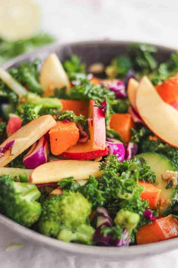 oil-free vegan butternut squash autumn salad with kale
