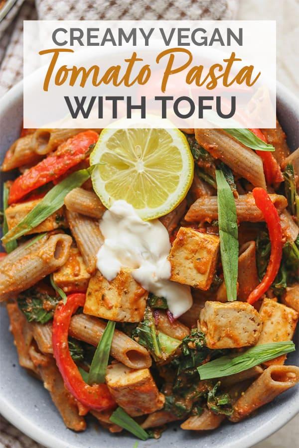 Creamy vegan tomato pasta with tofu Pinterest