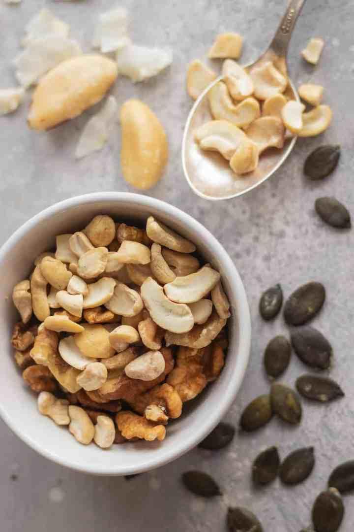 Cashews, walnuts, pumpkin seeds, coconut, brazil nuts