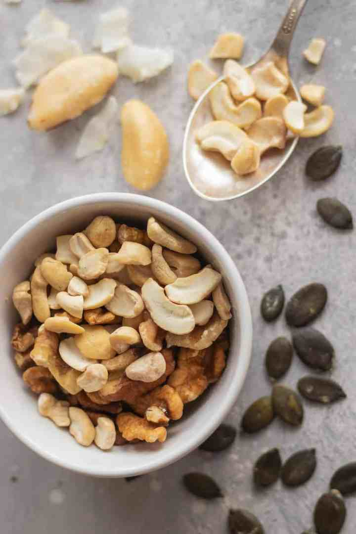 Cashews, walnuts, pumpkin seeds, coconut, brazil nuts