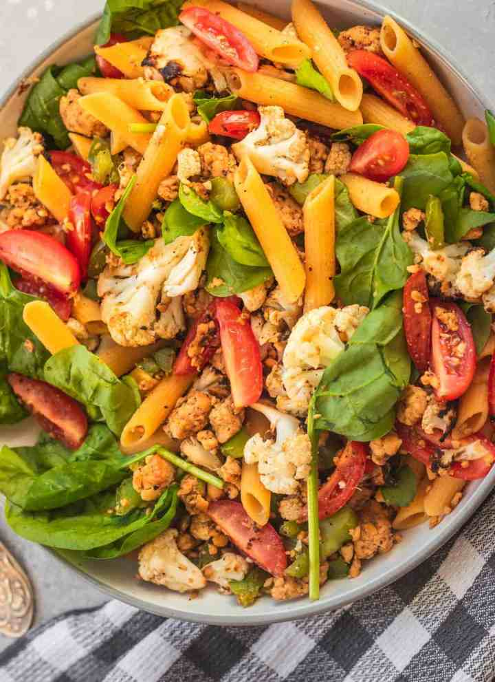 Vegan tempeh pasta with roasted cauliflower
