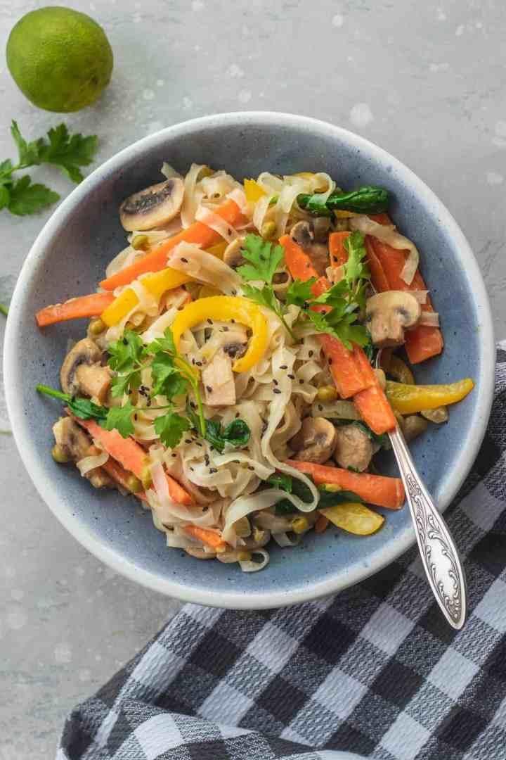 Easy coconut vegetable and mushroom stir-fry vegan