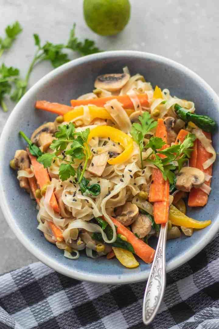 Vegan coconut vegetable and mushroom stir-fry