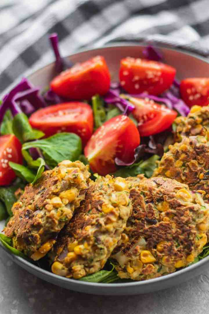 Vegan zucchini fritters with sweetcorn and red lentils