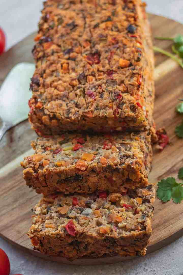 Healthy vegan lentil loaf oil-free gluten-free