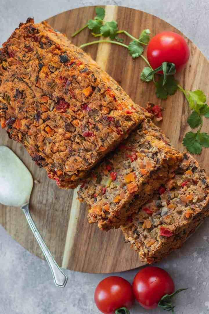 Vegan Christmas lentil loaf with vegetables