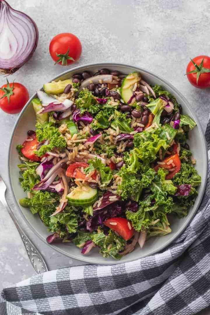 Black bean kale salad with rice vegan gluten-free