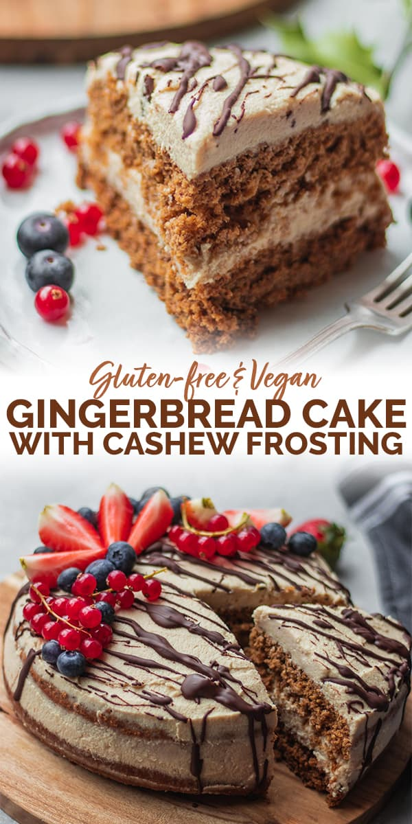 Gluten-free vegan gingerbread cake with coconut cashew frosting Pinterest